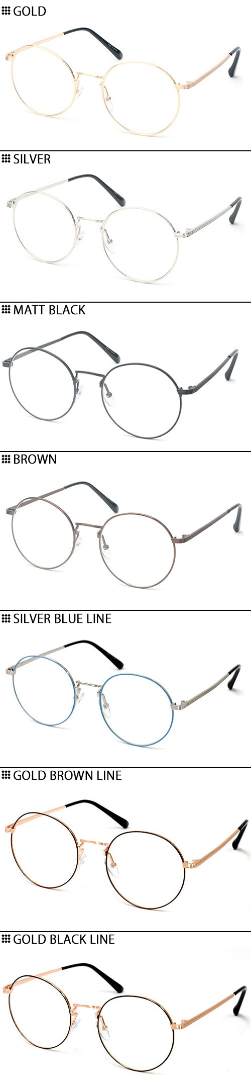 ENCACC Classic Round Retro Eye glasses Clear Lens Glasses Non Prescription Metal Frame 3015