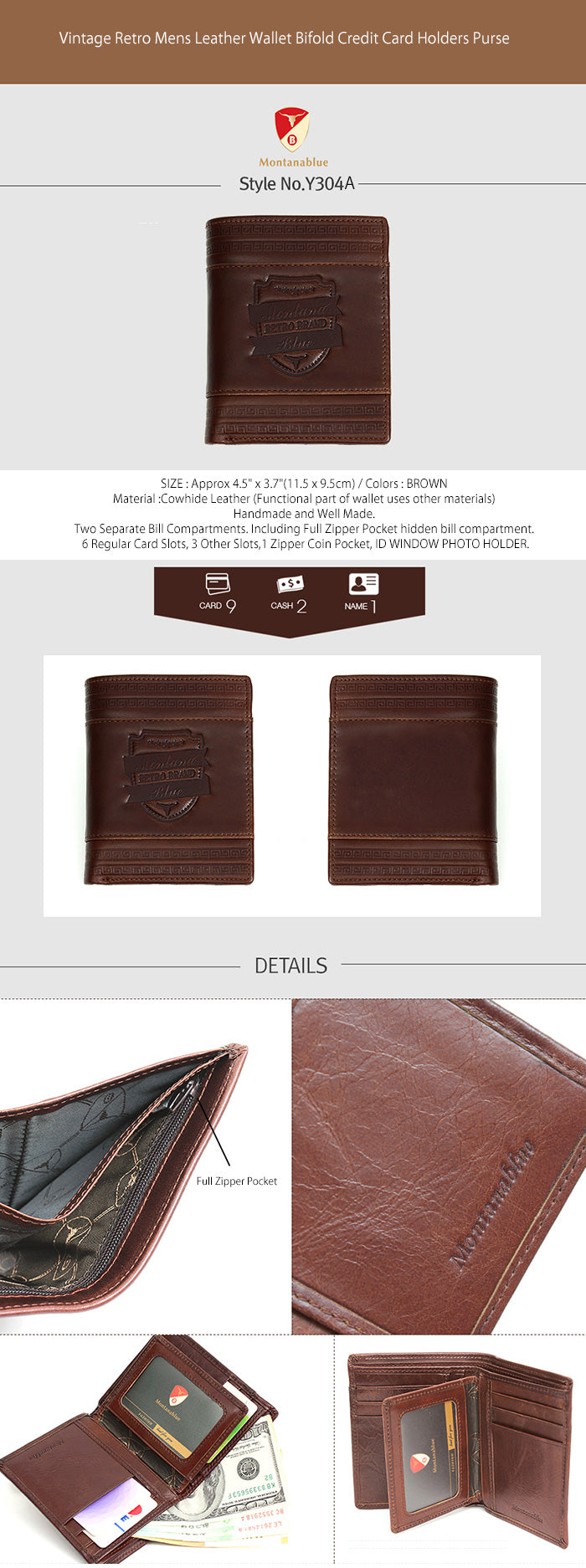 New Mens Genuine Leather Wallet Coin Pocket Bifold Purse Vintage Style-3222