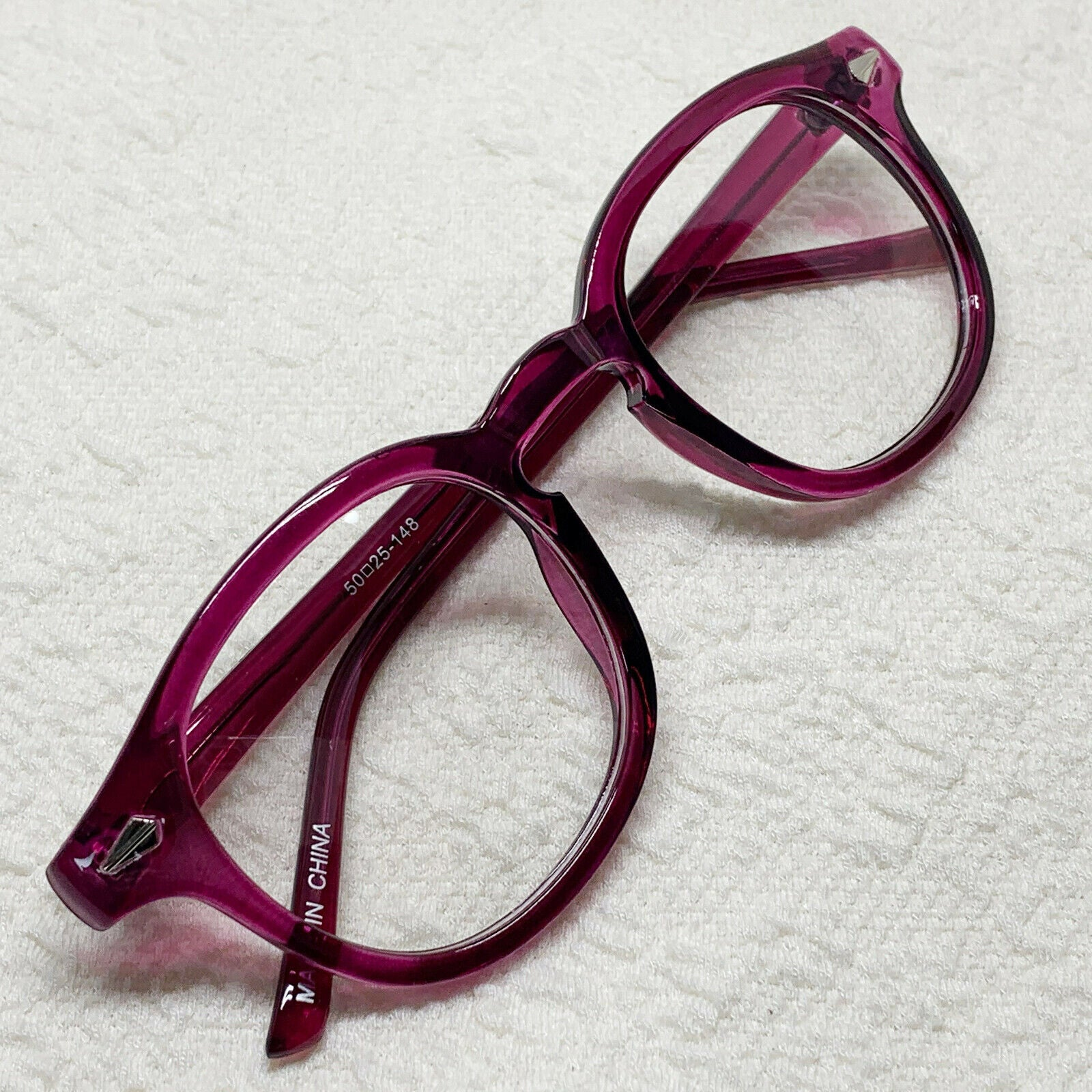 ENCACC Nerd Geek Oversized Glasses Vintage Eye-wear Inspired Horn Rim Frame Purple 1028 - ENCACC