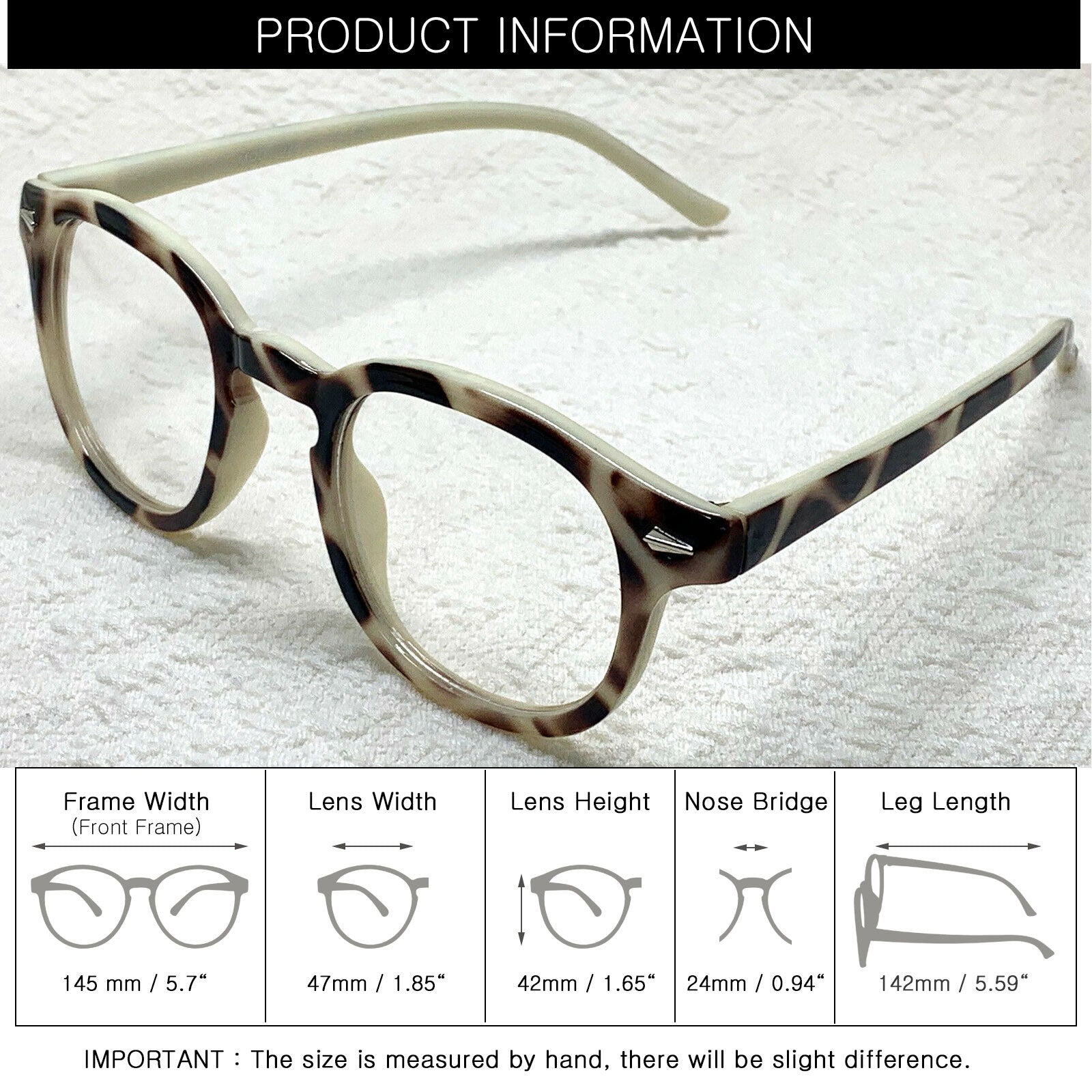 ENCACC Nerd Geek Oversized Glasses Vintage Eye-wear  Eyeglasses Beige Leopard 1028 - ENCACC