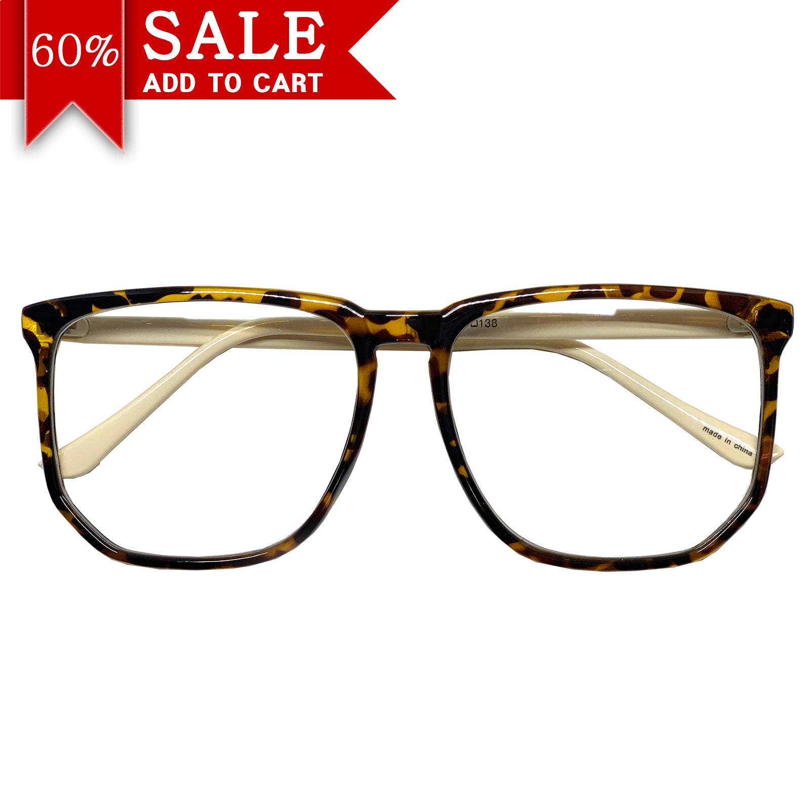 Vintage Inspired Big Horn Rim Frame Retro Nerd Geek Oversize Eyeglasses Framed Clear Lens Spectacles - ENCACC