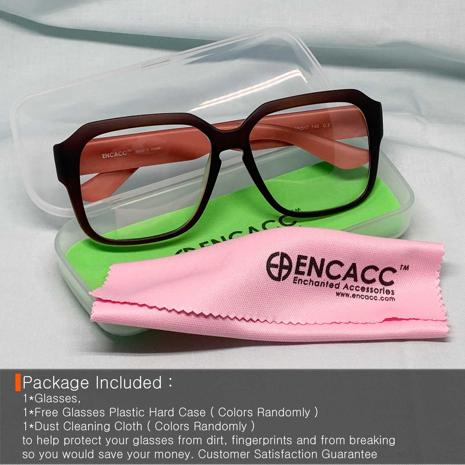 ENCACC Oversized glasses frames Eye-wear Frame TR90 Non Prescription Eyeglasses Matt Brown 343 - ENCACC