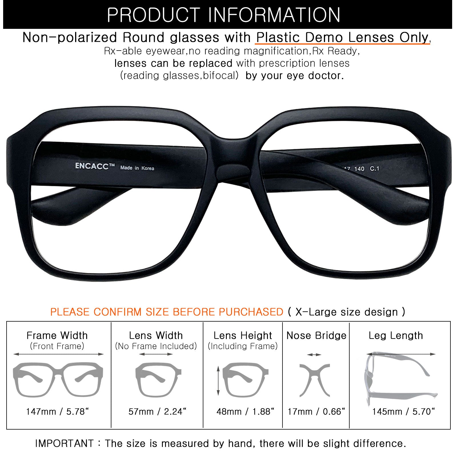 ENCACC Oversized glasses frames Eye-wear Frame TR90 Non Prescription Eyeglasses Matt Black 343 - ENCACC