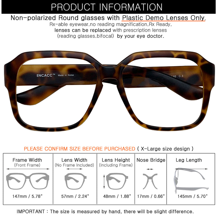 ENCACC Oversized glasses frames Eye-wear Frame TR90 Non Prescription Eyeglasses Matt Leopard 343 - ENCACC