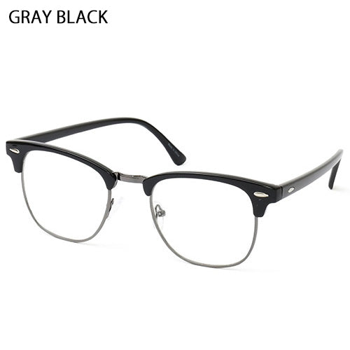 Vintage Inspired Classic Half Frame Semi-Rimless UV400 Clear Lens Fake Nerd Glasses 8004 - ENCACC