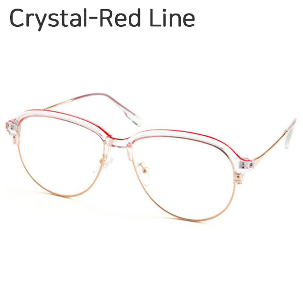 Aviator Eyeglasses Half Frame Semi-Rimless UV400 Clear Lens Fake Nerd Glasses 2175 - ENCACC