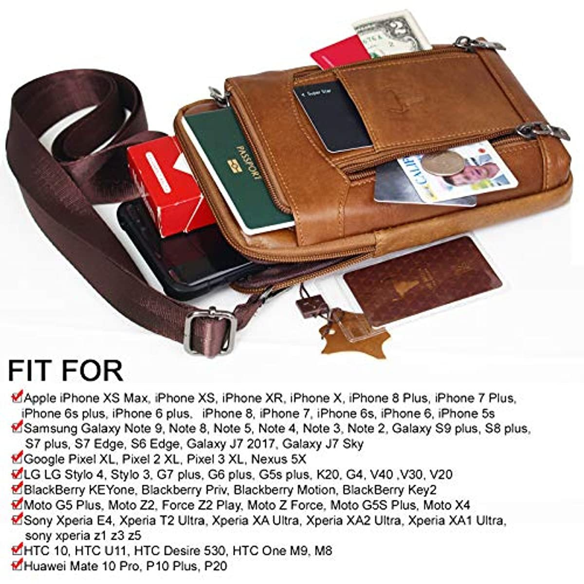 Phone Purse iPhone 11 Max Pro Leather Cell phone Holster Case Belt Loop Pouch Travel Messenger Bag 1312 - ENCACC