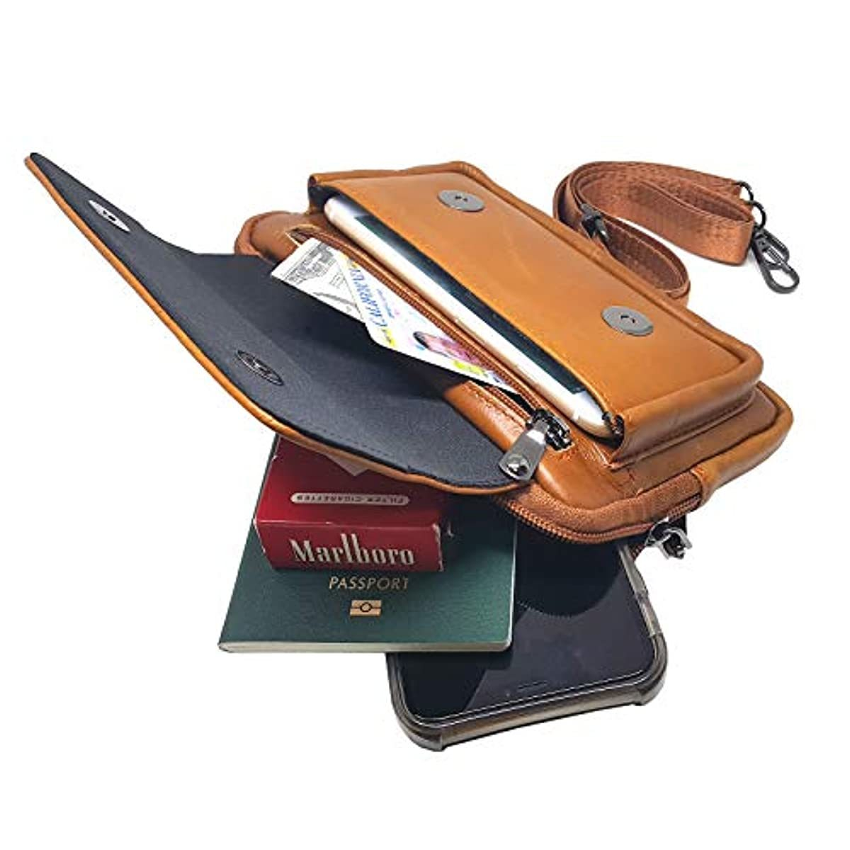 iPhone 11 Pro Max Leather Cell phone Holster Case Belt Loop Pouch Travel Messenger Bag 8134 - ENCACC