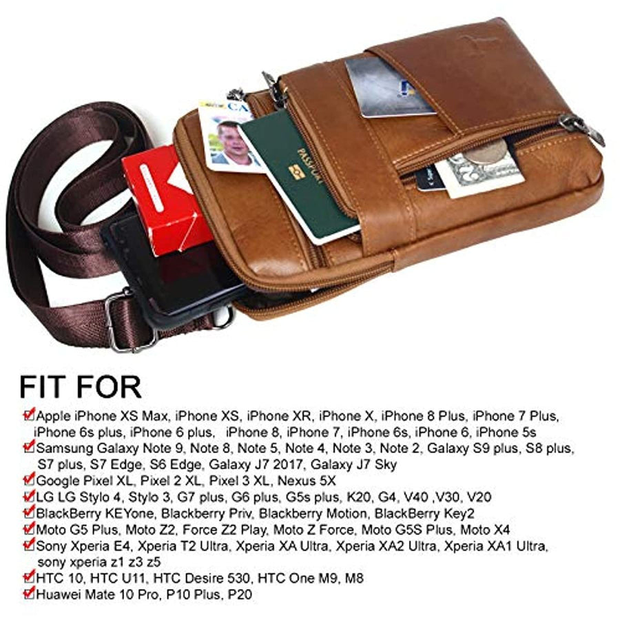 iPhone 11 Phone Purse Leather Cell phone Holster Case Belt Loop Pouch Travel Messenger Bag 1317 - ENCACC