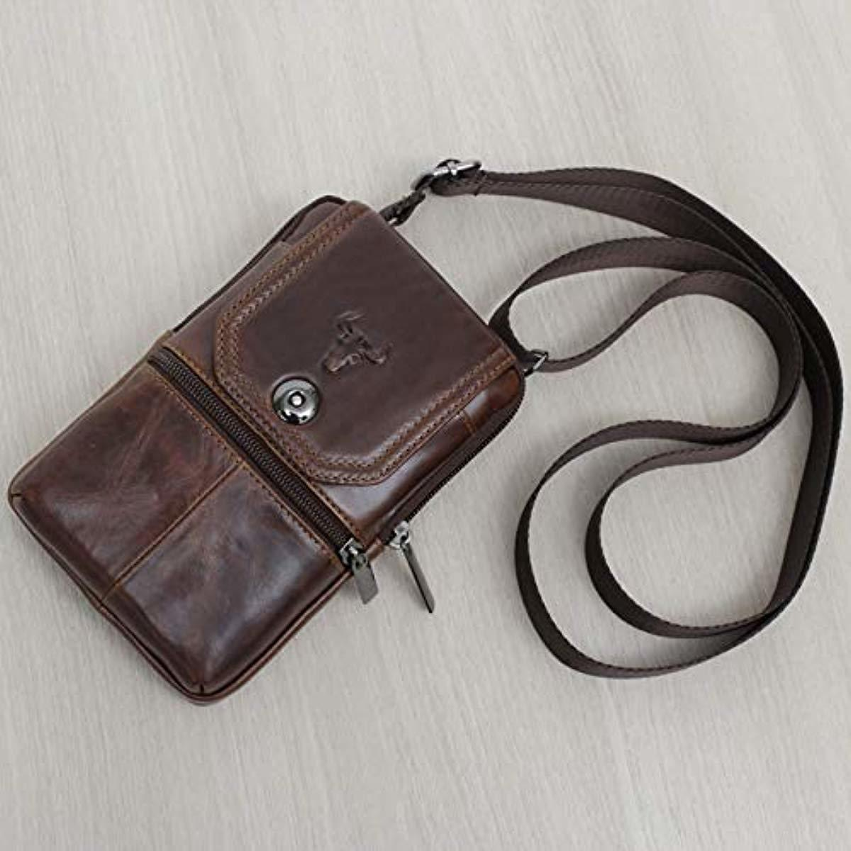 iPhone 11 Pro Max Leather Phone Bag Waist Pack Messenger Bags Leather Bag Travel Bags Cellphone Cases Holsters 9269 - ENCACC