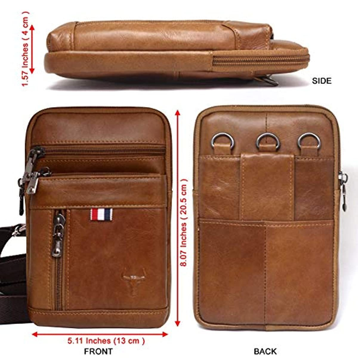iPhone 11 Pro Max Phone purse Leather Cell phone Holster Case Belt Loop Pouch Travel Messenger Bag 1313 - ENCACC