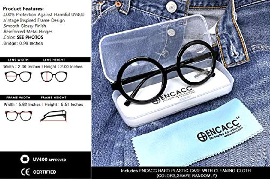 ENCACC Classic Round Horn Rimmed Eye Glasses Clear Lens Oval Non Prescription Frame 2047 - ENCACC