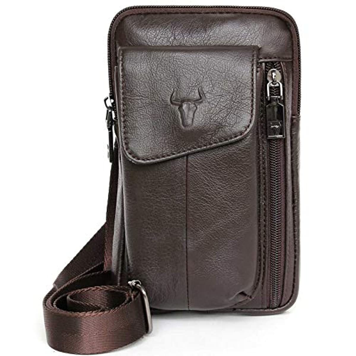 Phone Bag Smartphone Holsters Brown Leather Messenger Bag Travel Waist Pack 7017 - ENCACC