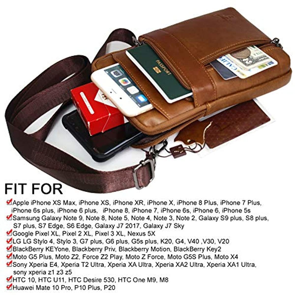 Phone Purse iPhone 11 Max Pro Leather Cell phone Holster Case Belt Loop Pouch Travel Messenger Bag  1315 - ENCACC