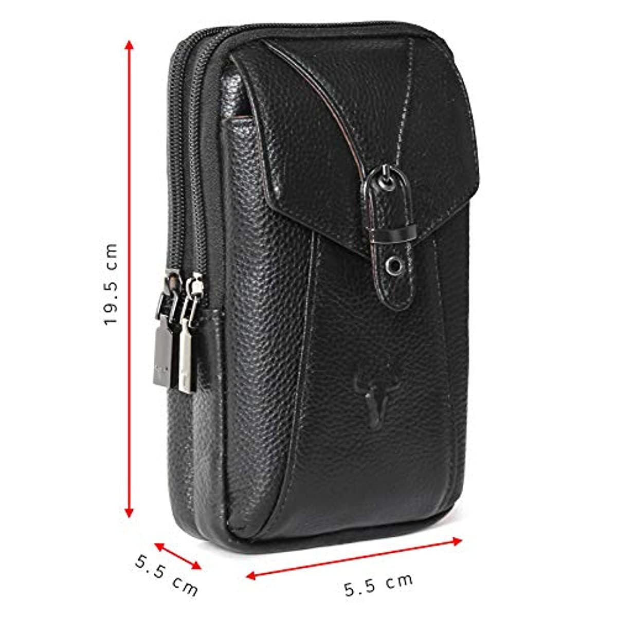Phone purse iPhone 11 Pro Max Leather Cell phone Holster Case Belt Loop Pouch Travel Messenger Bag Black 2185 - ENCACC