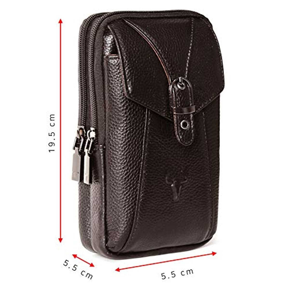 Phone purse iPhone 11 Pro Max Leather Cell phone Holster Case Belt Loop Pouch Travel Messenger Bag Dark Brown 2185 - ENCACC