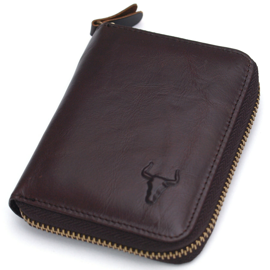 Men's Leather Wallet Zip Around Coin Pocket Credit Card Holder Purse - ENCACC