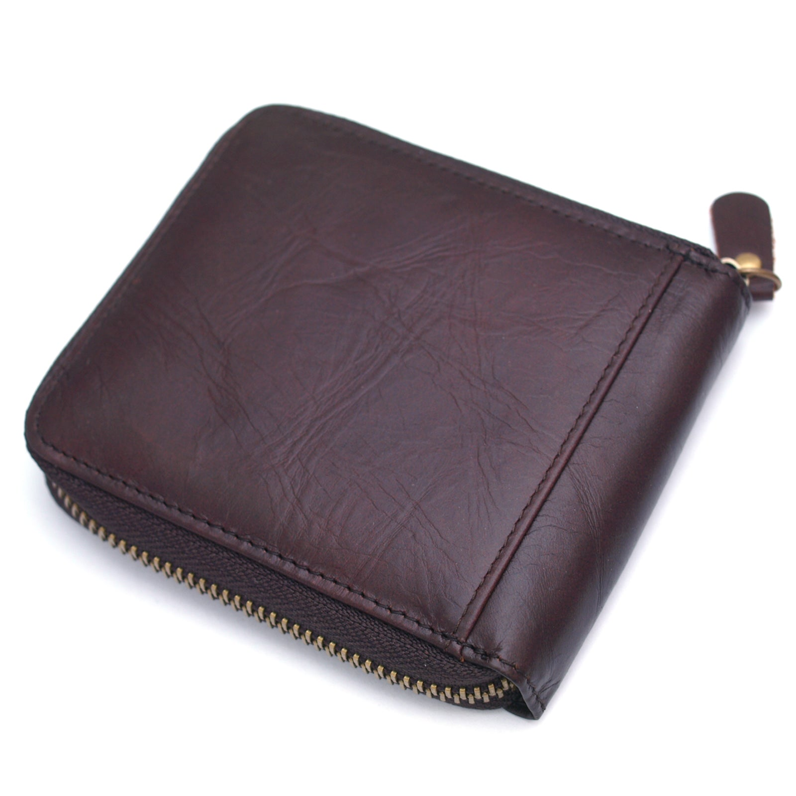 Men's Leather Wallet Zip Around Coin Pocket Credit Card Holder Purse MJ2552 - ENCACC