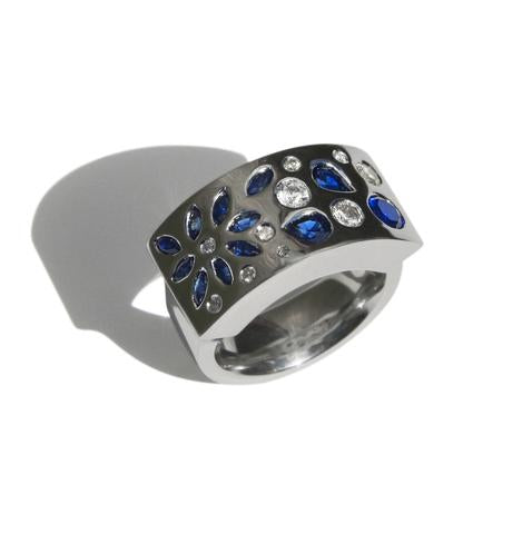Silver dress ring with blue and white sapphires