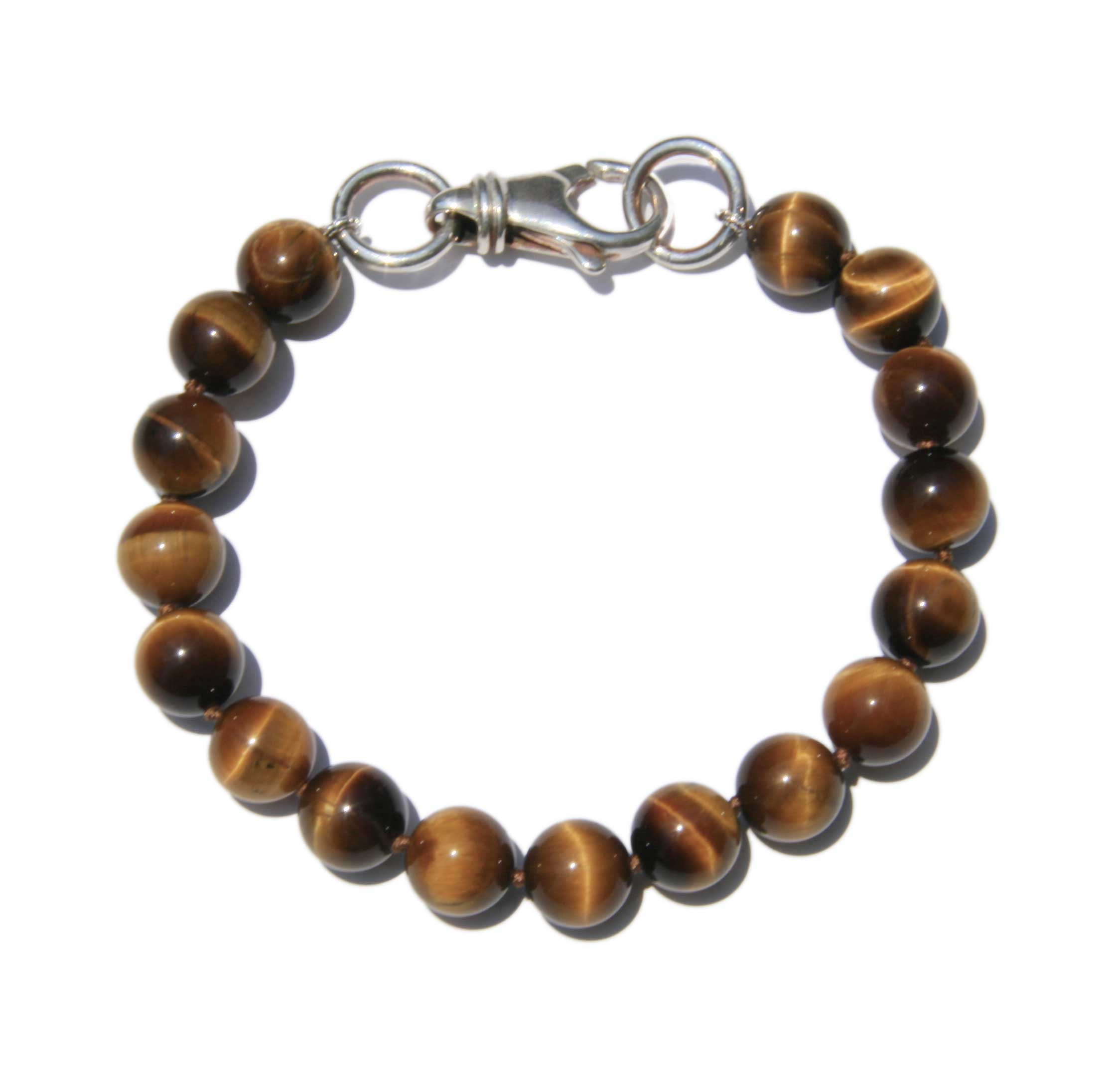 Men's Tiger Eye Bracelet with Silver Clasp