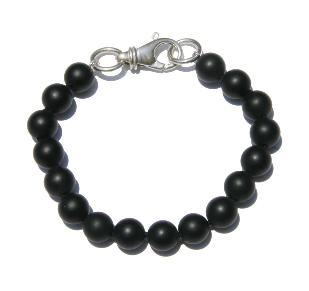 Men's Onyx Bracelet with Silver Clasp