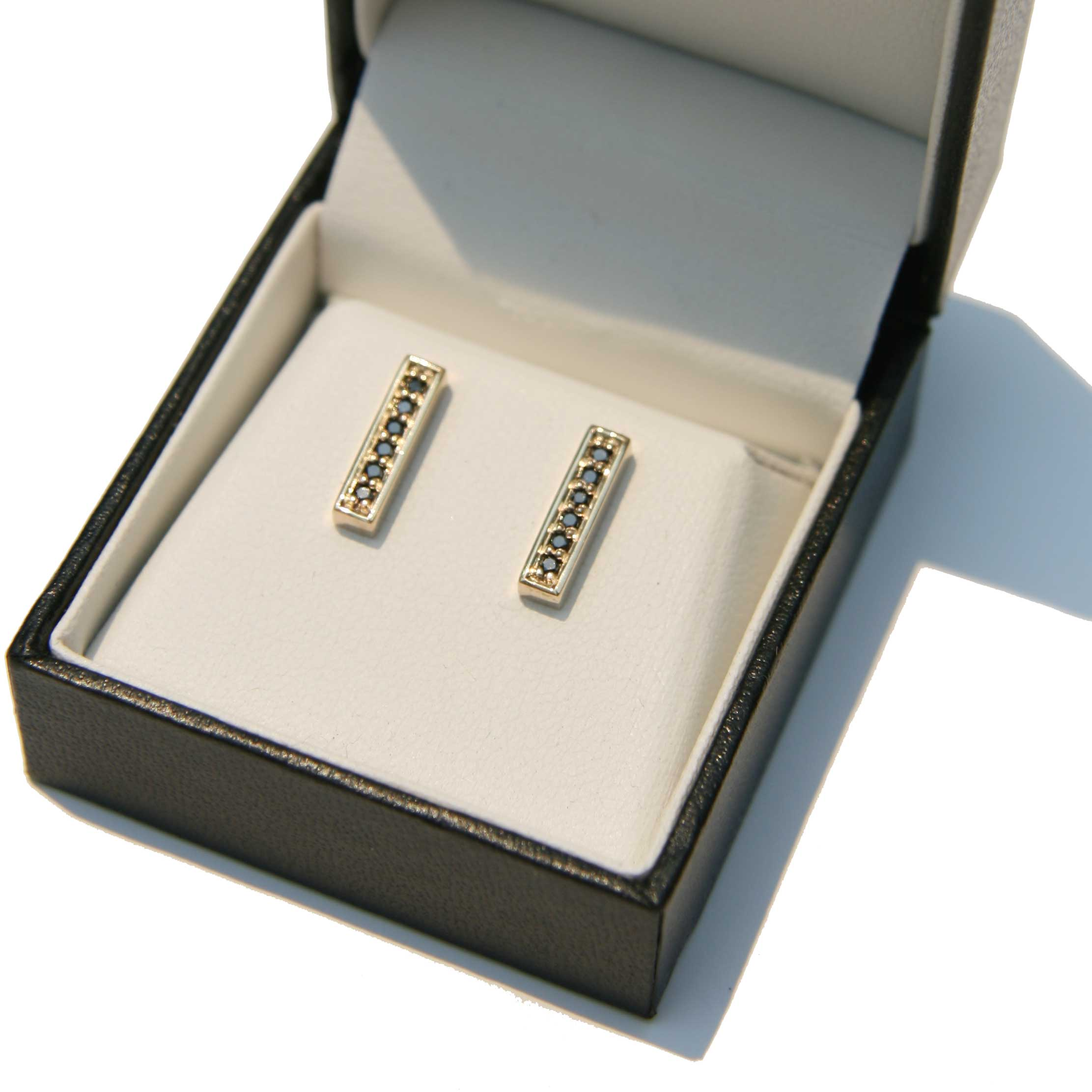 Gold 'Bar' Earrings with Black Diamonds