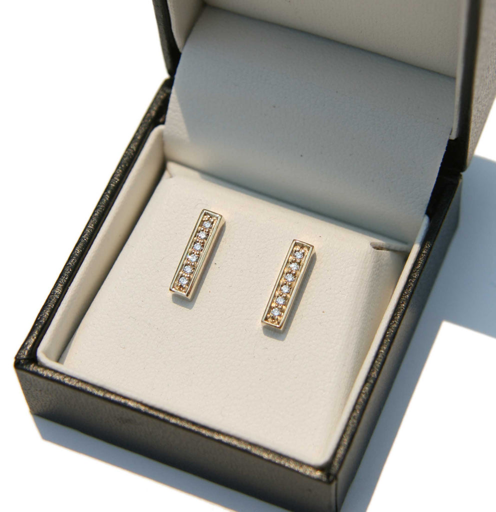 Gold 'Bar' Earrings with White Diamonds