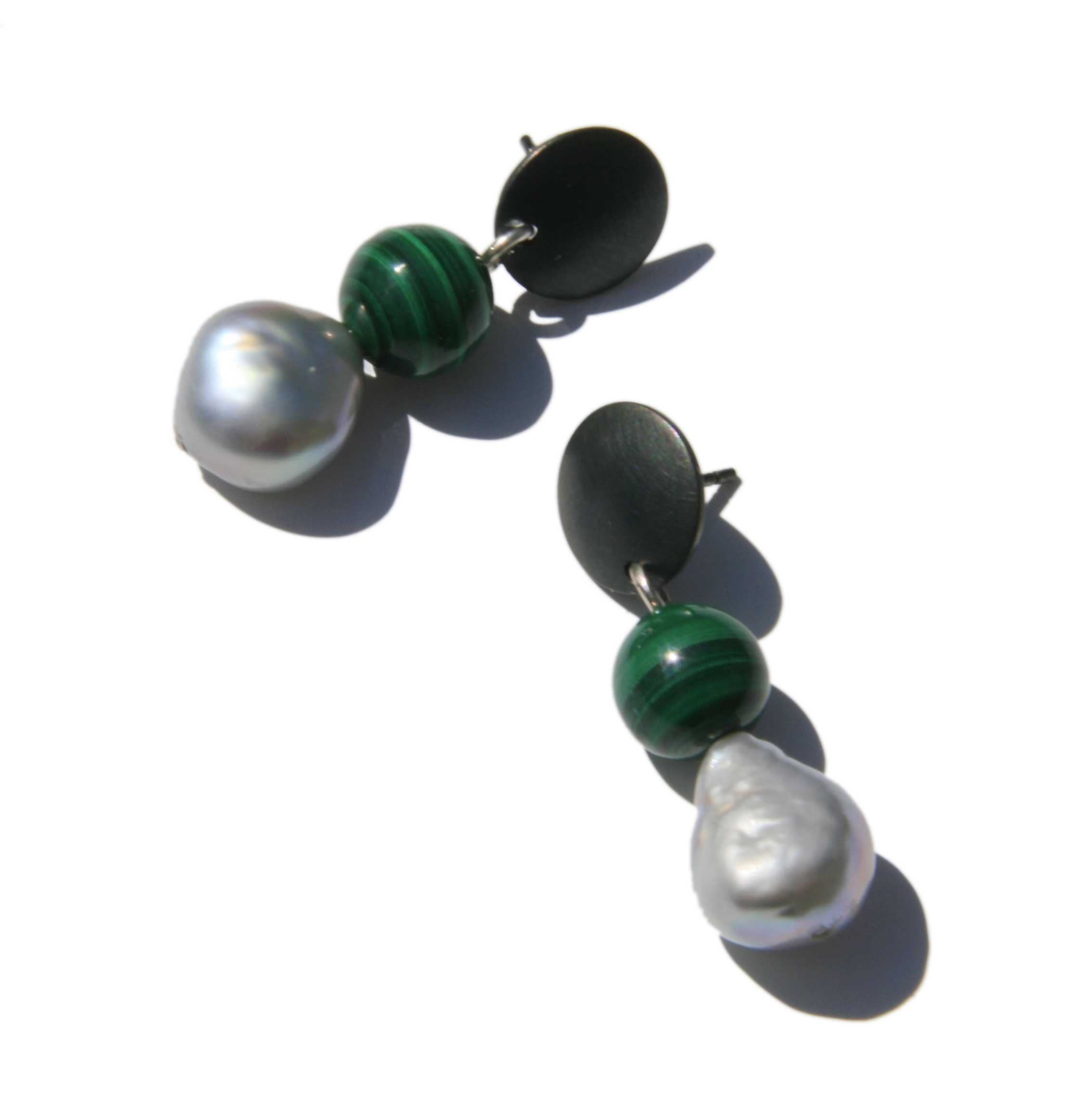 Drop Earrings with Malachite and Silver Pearls