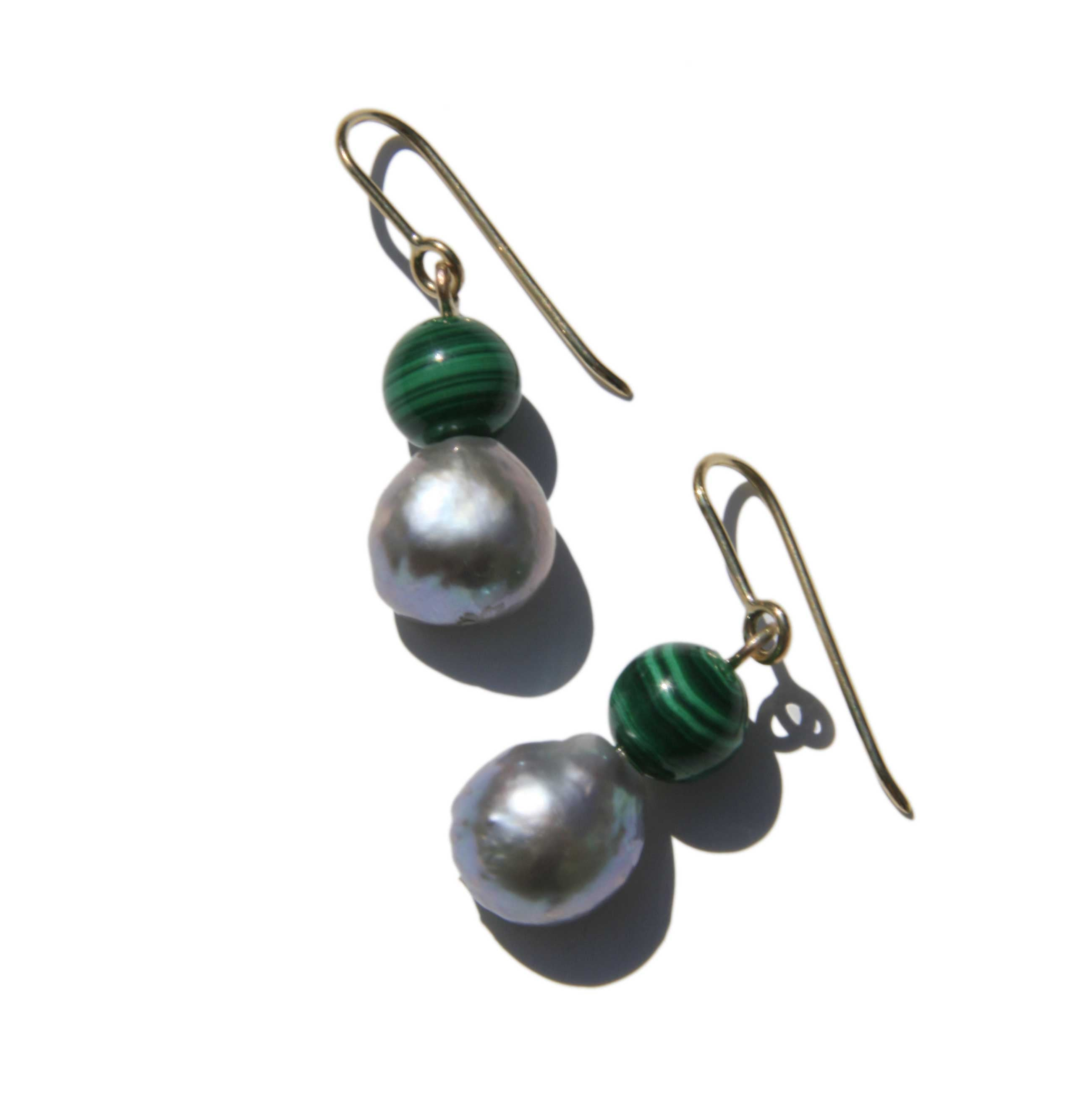 Malachite and Pearl Earrings