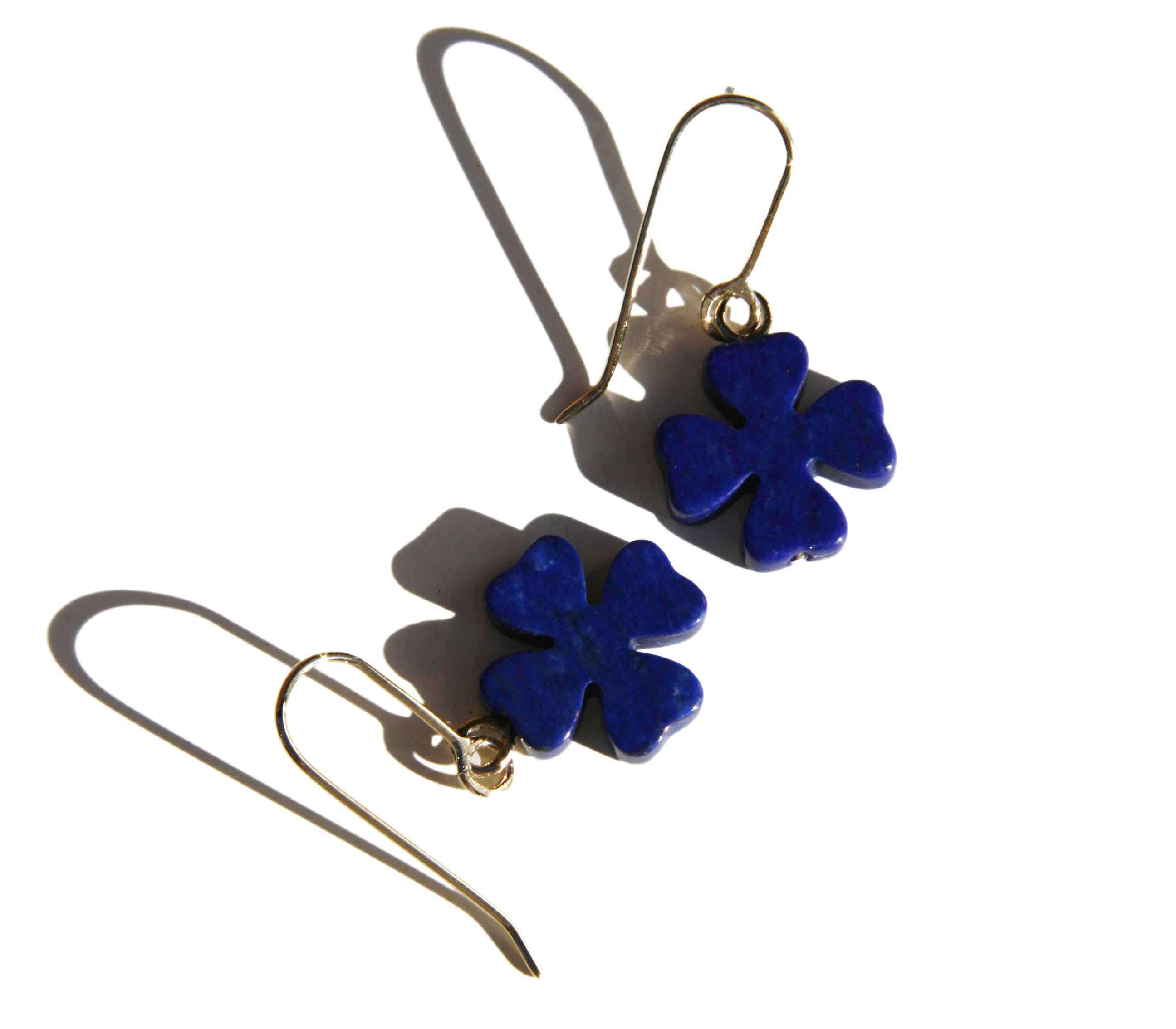 Lapis four leaf clover earrings
