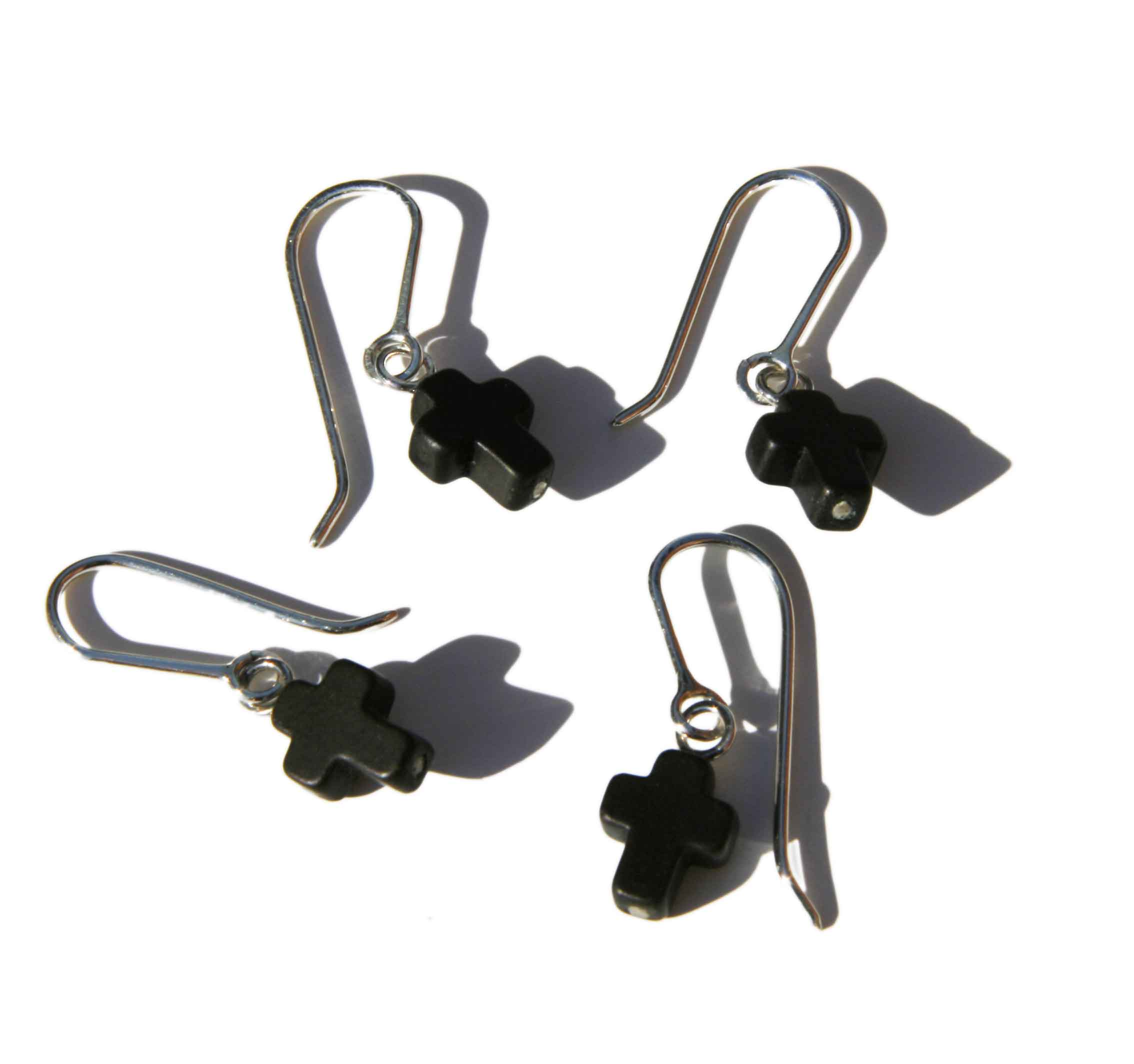 Earrings Stone Cross Hooks