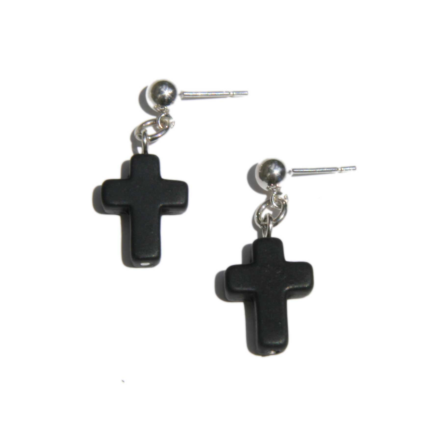 Stone Cross Earrings (Studs)