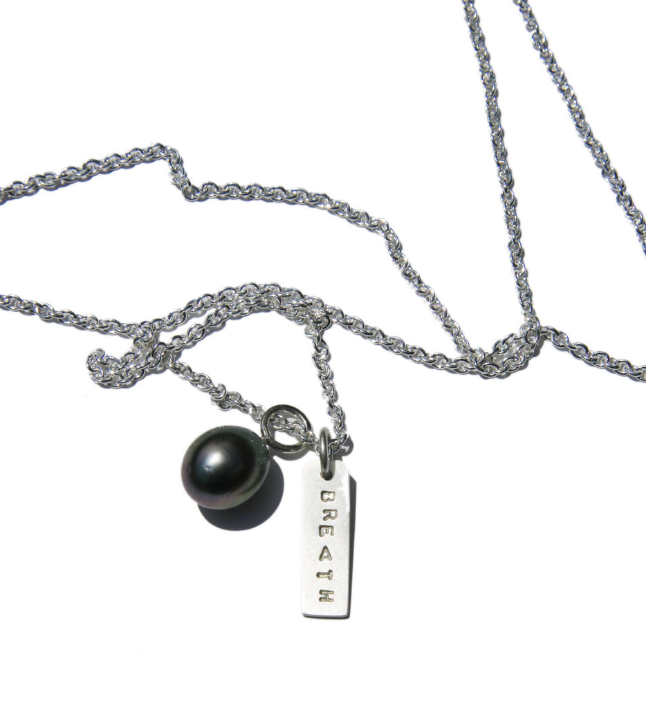 Chain with Silver Tag and Tahitian Pearl