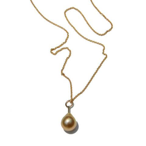 Gold South Sea Pearl Pendant and Chain