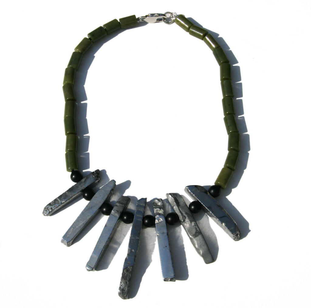 Canadian jade and silver plated agate necklace