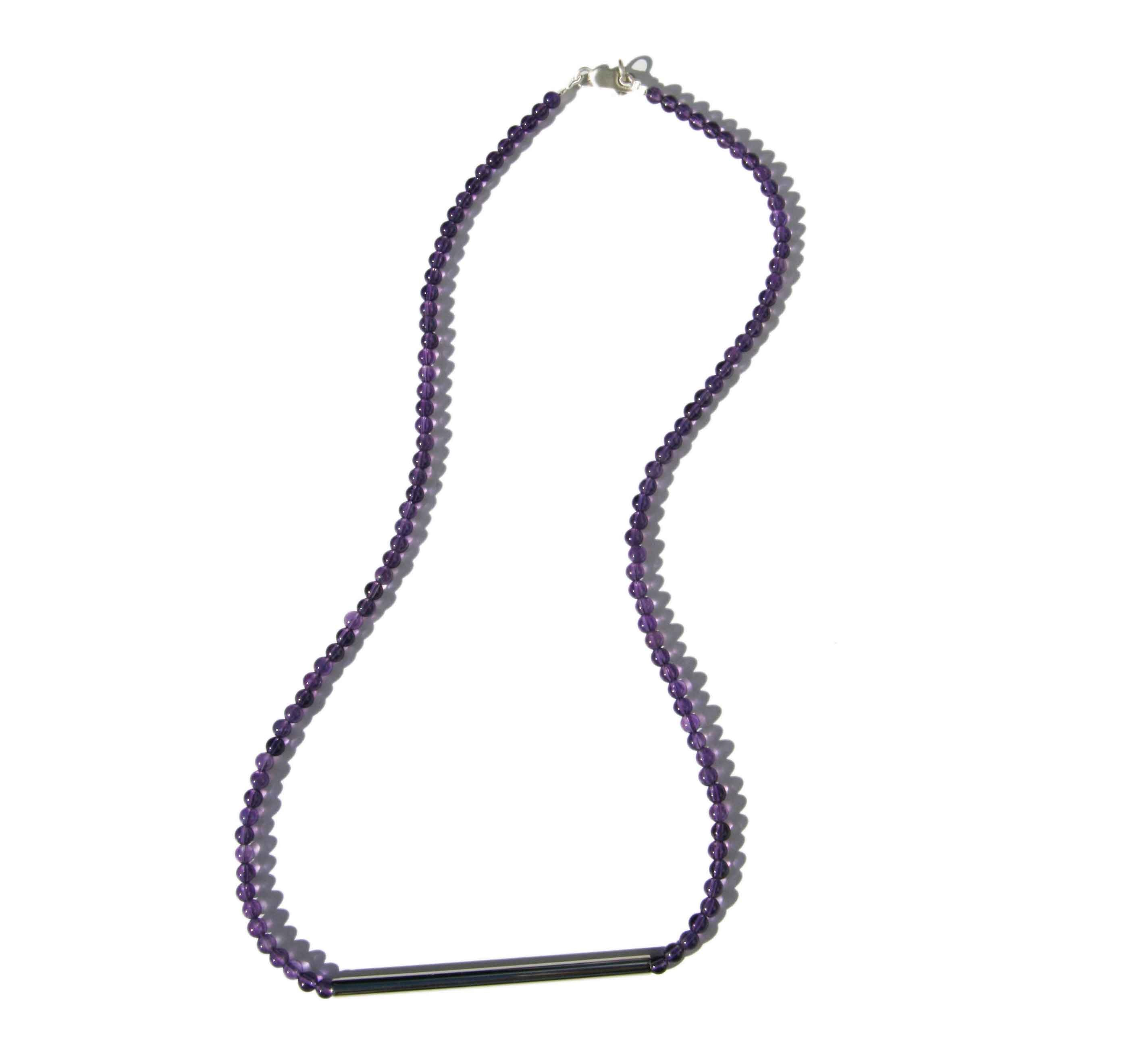 Amethyst Necklace with Silver Rod