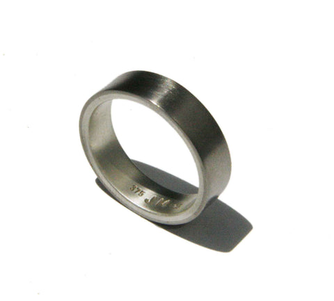 Men's wedding band, white gold and silver