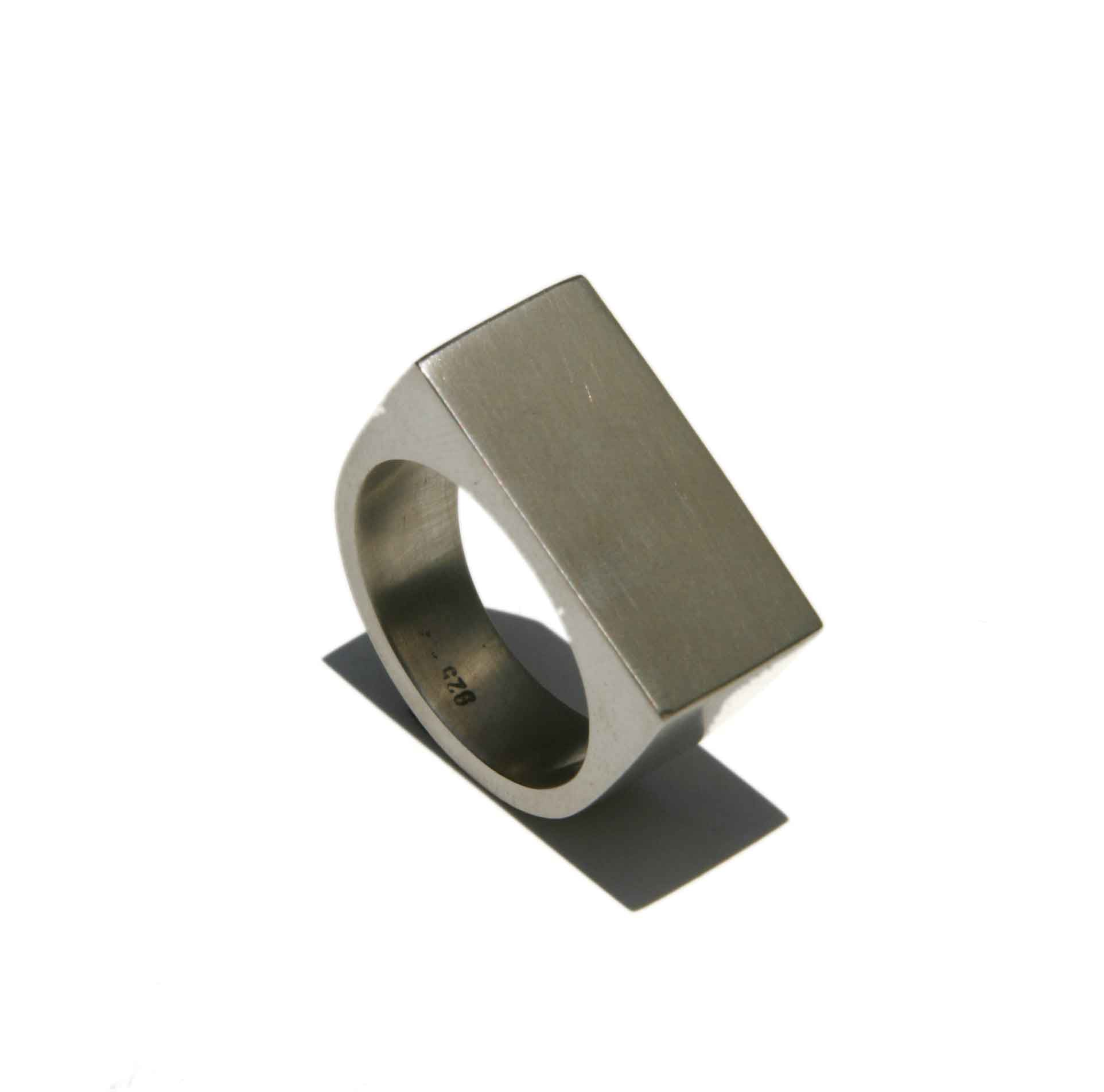 'Cubist' solid silver ring