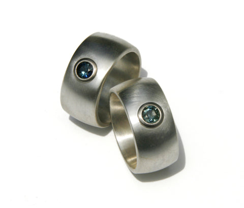 Men's silver and sapphire dress ring