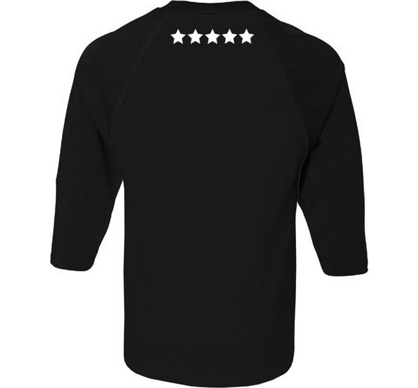 Citi Team 3/4 Raglan  Black On Black