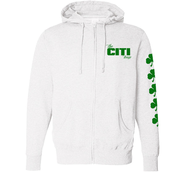 # FAMILY FIRST Logo Pullover White With Shamrocks