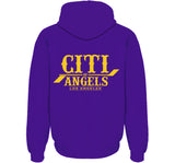CITI OF ANGELS ZIP HOODIE IN PURPLE & GOLD