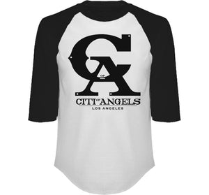CITI OF ANGELS 3/4 SLEEVE RAGLAN IN BLACK & WHITE