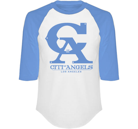 CITI OF ANGELS 3/4 SLEEVE RAGLAN IN HEATHER LIGHT BLUE