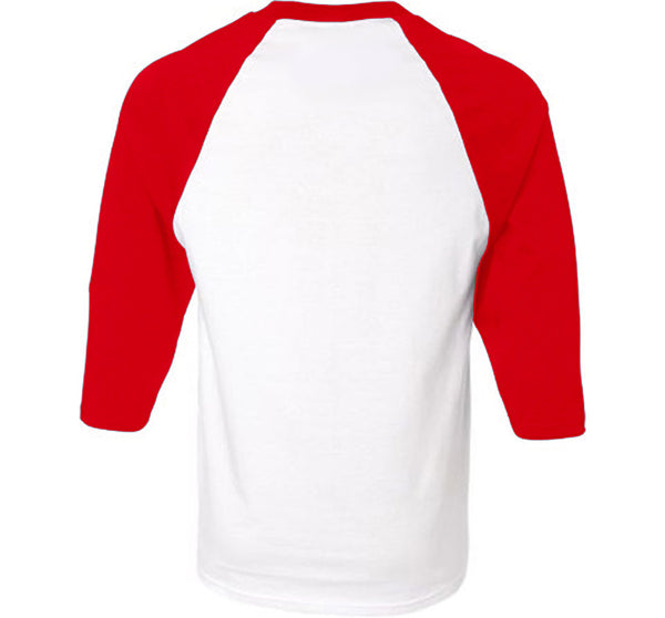 CITI OF ANGELS 3/4 SLEEVE RAGLAN IN RED & WHITE