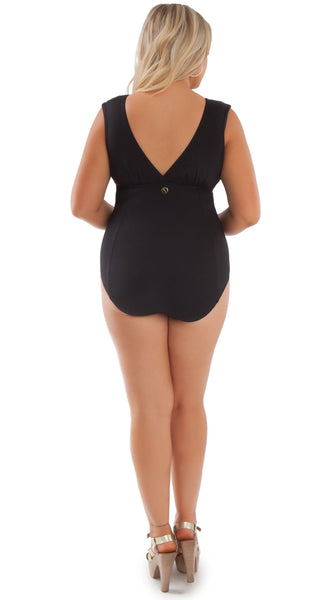 Rita One Piece Swimsuit Black and Ivory