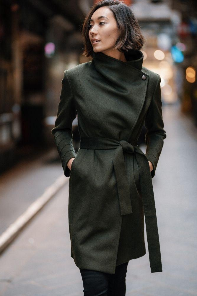 Guilia Wrap Coat - Olive Wool