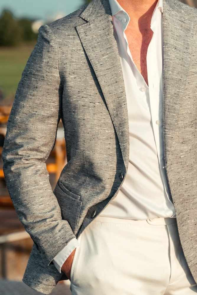 Liam Sports Jacket - Grey Silk Wool Slub