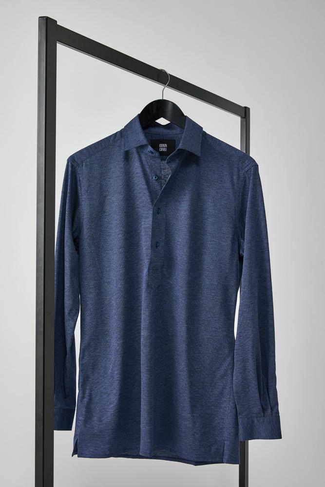 Magnus Long Sleeve Polo Top - Denim Cotton Pique