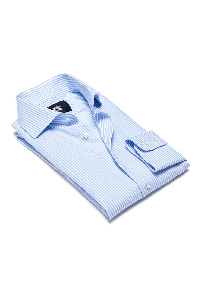 Pilot (BC/CL) Shirt - Lt Blue Cotton Linen Stripe